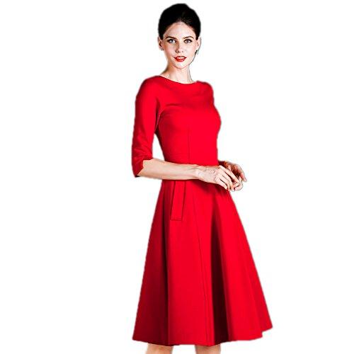 Colore Manicotto Vestito Formali Mezzo Del Di Donne A Scollo Delle Abiti Rosso `s Solido Cotyledon OCqwxPz1T