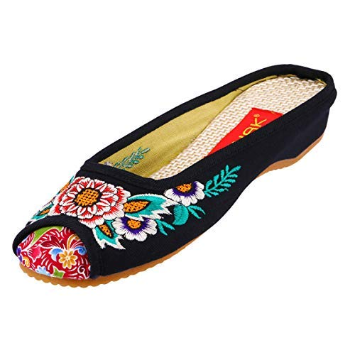 CINAK Embroidery Flats Slippers Flower- Casual Slip-ons Comfortable Loafer Chinese Embroidered Shoes Ballet Flats(9.5-10 B(M) US/UK7.5-8/EU42/CN43/26.5CM,Black)