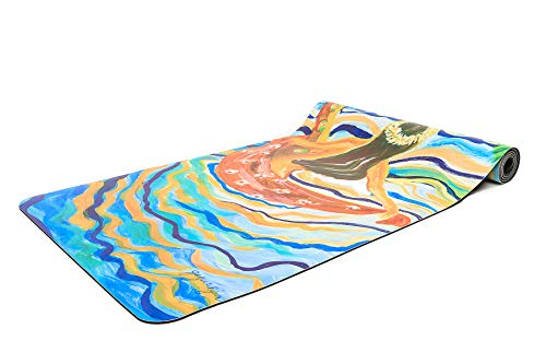 Yo-Nique Yoga Mat Set with Hula Girl Design - Includes 5mm Thick Non-Slip Yoga Mat with Custom Artwork, Workout Towel and Carrying Strap ()