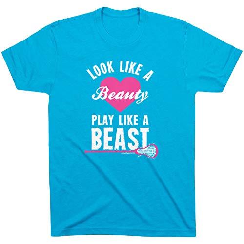 ChalkTalkSPORTS Look Like A Beauty Play Like A Beast T-Shirt | Girls Lacrosse Tees Turquoise | Youth Medium