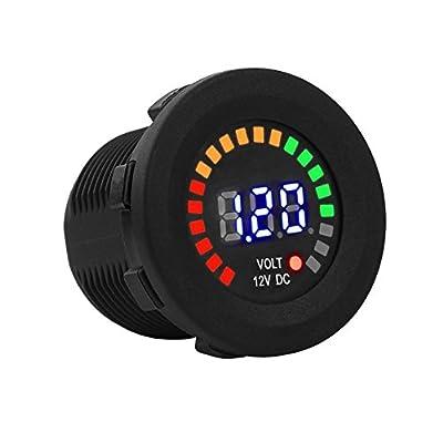 Keenso Motorrad Voltmeter, Motorrad 12V Digital LED-Anzeige Voltmeter Wasserdicht Batterieanzeige Volt…