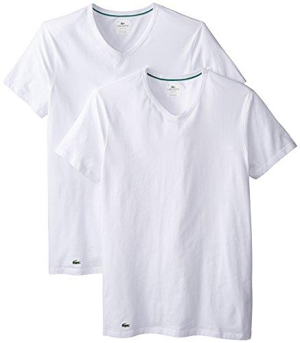 Lacoste+Men%27s+2-Pack+Colours+Cotton+Stretch+V-Neck+T-Shirt%2C+White%2C+Medium