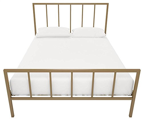 "DHP Stella Bed with Metal Frame, Gold, Queen - Modern design in a sturdy metal frame Stylish headboard and footboard with clean vertical lines. Headborad height is 46"" and footboard 27.5"" Metal slats offer the right amount of support, comfort and durability. Additional foundation not required - bedroom-furniture, bedroom, bed-frames - 41oTlMFvXxL -"