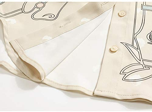Xuanyifu Patrón De Mujer Botón Impresión Blusa Causal Nueva Solapa Camisa Holgada Manga Larga Marea Moda Primavera Otoño L Albaricoque