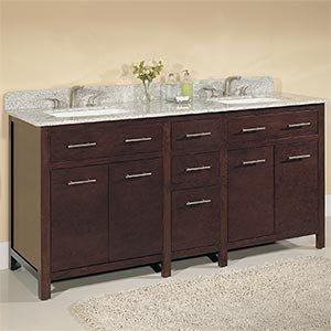 72 double sink vanity with backsplash brown finish - Bathroom vanity backsplash or not ...