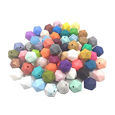 30pcs Silicone Polyhedron Beads BPA Free Hexagon Beads 17mm Food Grade Silicone Teether DIY Baby Teething Beads Necklace Toys (Dark Marble Pink)