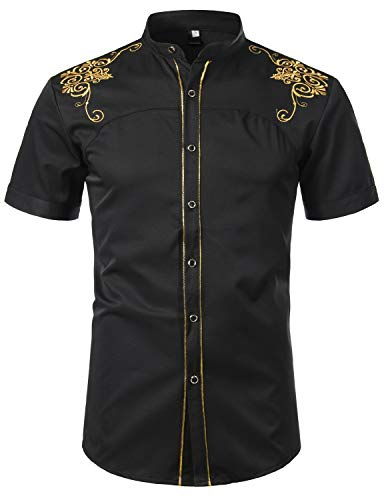 Hipster Gold - ZEROYAA Mens Hipster Gold Embroidery Design Slim Fit Short Sleeve Band Collar Shirts ZHCL35 Black Large