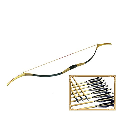 Cheap 45lb Mongolian Bow and Arrows Set Traditional Handmade Mongolian Horse Bows Mongol Recurve Bow
