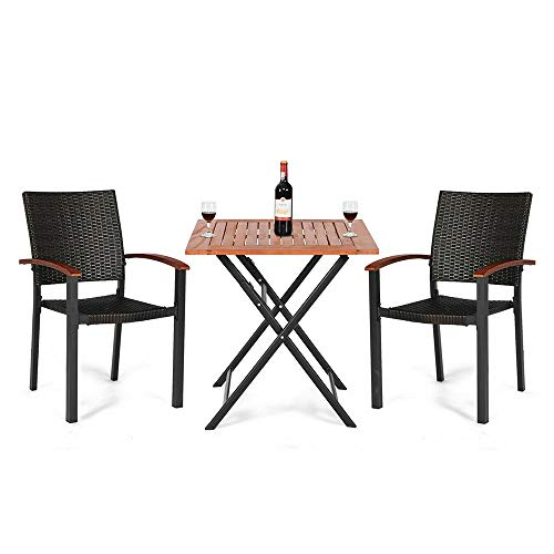 Thaweesuk Shop 3pcs. Outdoor Dining Table & Chair Set Premium Folding Table 2 Stackable Chairs PE Rattan Aluminum Tube Eucalyptus Wooden Unfold Size 27.5
