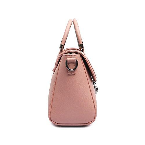 Handbag Flip Fashion Pink Crossbody Pu Lock Pink Bag 23 Pink color 10 Ladies Simple Vintage 18cm RndaUqYwR5