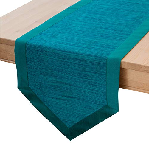 The White Petals Teal Blue Side Table Runners (14×36 inch, Pack of 1) V-End Border | Fabric Lined | Properly Finished, No Fray Edges | for Home, Kitchen, Dining Room, Holiday, Wedding Party Décor
