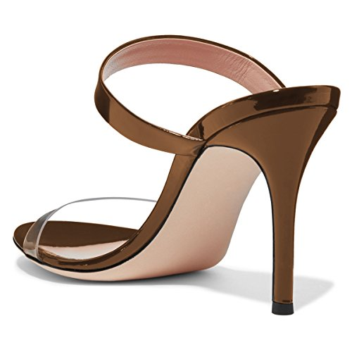 Party 4 Shoes Brown Mules Sandals Sexy Heel Women Open 15 Size Strappy Toe High Stiletto FSJ US Clear BgqPwB6