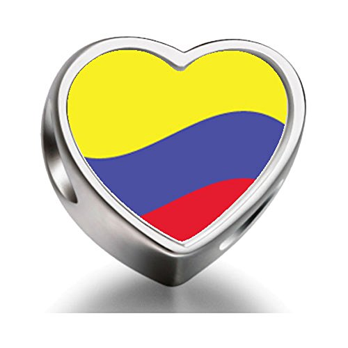 FERVENT LOVE Colombia Flag Heart-shaped Photo Charm Beads for Charm Bracelet