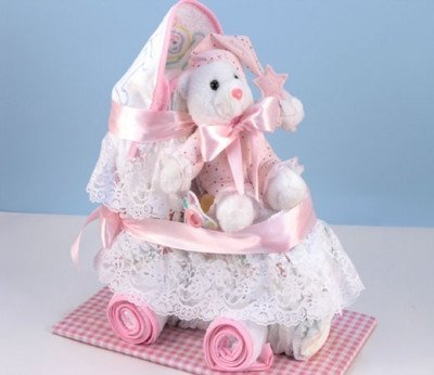 Baby Carriage Diaper Cake (Pink (Girl)) by Baby Gift Creations