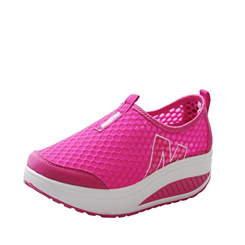 Women's Girls Mesh Lightweight Breathable Casual Sneakers Thick Bottom Platform Wedges Shoes for Sports Running Hiking (Hot Pink, US:6.5(CN:38))