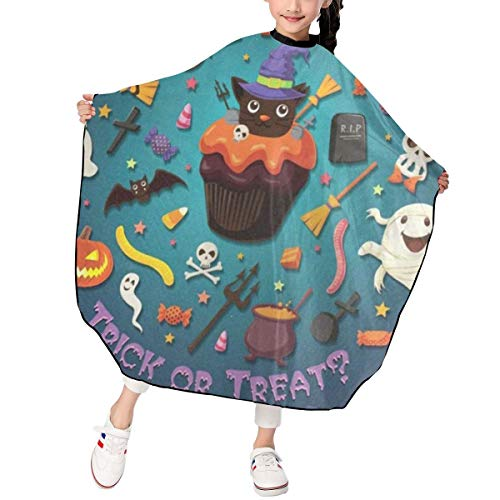 Vintage Halloween With Cupcake Kids Haircut Salon Cape Professional Home Hair Cutting Shampoo Waterproof Styling Capes Cloth for Child/Boys/Girls