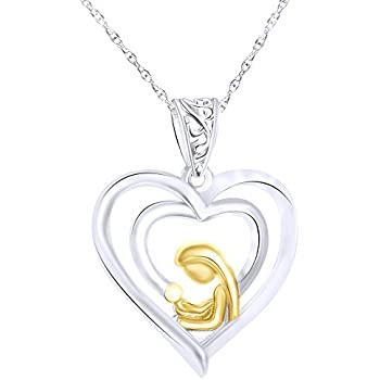 Wishrocks Mothers Day White CZ Mom Heart Love Pendant Necklace in 14K Gold Over Sterling Silver