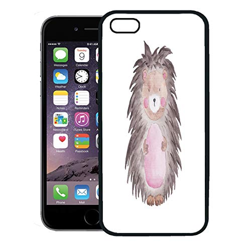 Semtomn Phone Case for iPhone 8 Plus case,Animal Hedgehog Watercolor Woodland Cute Baby Babyshower Calendar iPhone 7 Plus case Cover,Black