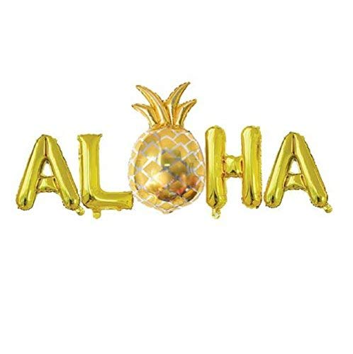 ALOHA Balloons with Pineapple Hawaiian Party Foil Balloons 16Inch Metallic Mylar Balloon for Hawaii Tropical Celebration Party Decorations - Gold]()