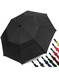Folding Golf Umbrella 58-inch Large Windproof Double Canopy - Auto Open, Sturdy and Portable