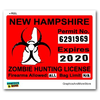 New Hampshire NH Zombie Hunting License Permit Red - Biohazard Response Team - Window Bumper Locker Sticker