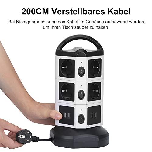 bedee Steckdosenleiste mit USB, 10 Fach Mehrfachsteckdose mit 4 USB Anschlüssen, 14-in-1 Steckdosenturm Steckdosen mit Schalter und 2m Einstellbare Kabel, 2500W/10A Überspannungsschutz Steckerleiste