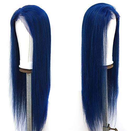XRS Hair Wig Blue Color Lace Front Human Hair Wigs For Black Women Pre Plucked Peruvian Virgin Human Hair Straight Wig With Baby Hair On Sale 18Inch]()