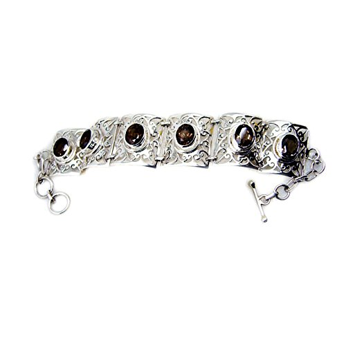 Genuine Oval Cut Smoky Quartz 925 Sterling Silver Vintage Style Bracelet For Gift Length 6.5-8 Inches by 55Carat