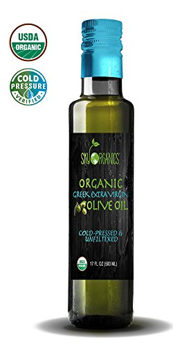 Organic Extra Virgin Olive Oil by Sky Organics 17oz- 100% Pure, Greek, Cold Pressed, Unfiltered, Non-GMO EVOO- For Cooking, Baking, Hair & Skin moisturizing- Award Winning Best USDA Organic Olive Oil