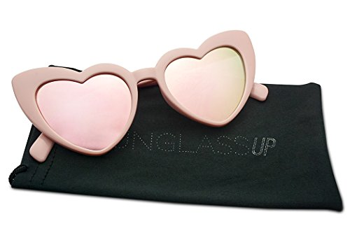 Oversized Lovestruck Round High Tip Heart Shaped Colored Mirror Lens Sunglasses (Pink Frame | - Lense Sunglasses Colored