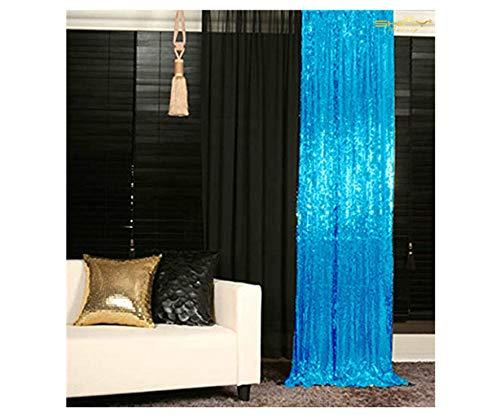 ShinyBeauty Sparkle Backdrop Curtain Aqua 2 Panels Set Sequin Photo Backdrop Turquoise 2FTx8FT Sequin Backdrop Curtain Aqua Blue Pack of 2-1220S (2 Sequin)