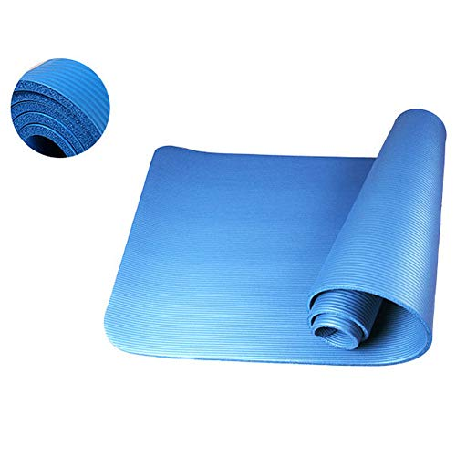 YEVIOR 10mm Thick Pure Color Eco Friendly Anti-Skid Yoga Mat All Purpose Exercise Mat for Yoga, Pilates and Floor Exercises 183x61x1cm Blue