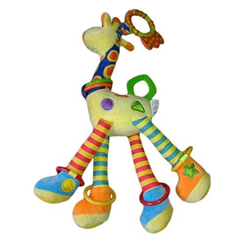 YKS Jouet Bébé Hochet Poussette Peluche d'éveil Doudou Premier âge avec Anneau Dentition Cadeau Girafe Fille Garçon BeiyiHomeFR