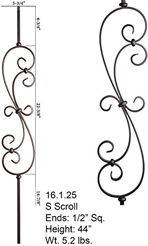 Wrought Iron Baluster - Satin Black 16.1.25 S-Scroll Iron Baluster for Staircase Remodel , Box of 5