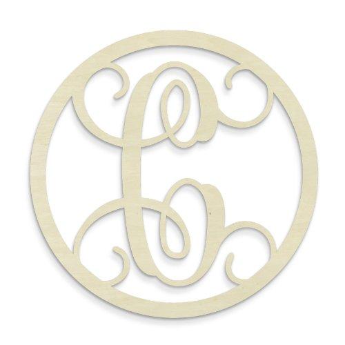 UNFINISHEDWOODCO Single Letter Circle Monogram-C, 19-Inch, Unfinished