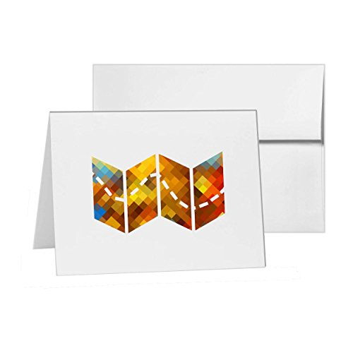 Map Fold Navigation Path Treasure, Blank Card Invitation Pack, 15 cards at 4x6, Blank with White Envelopes Style 12179 ()