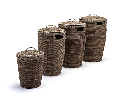Round Laundry Baskets with lid and side cutouts Set of 4 Brown (Leaf Basket Woven Banana Laundry)