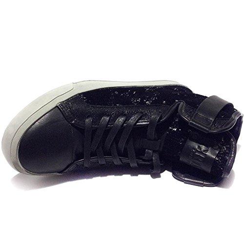 Crime London sneakers alte pelletessuto argento nuovo art.25093