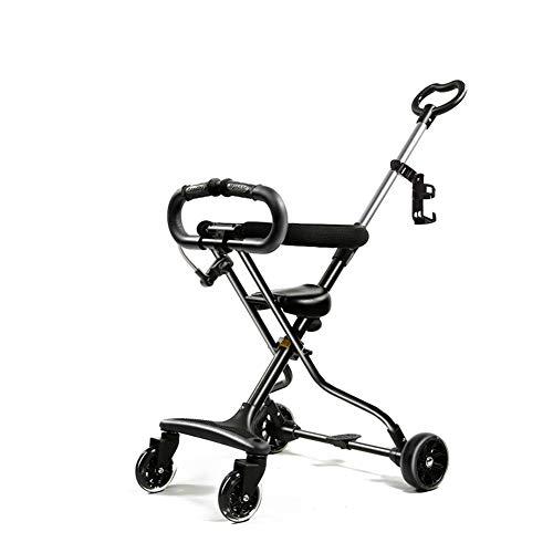 Carro de los niños, pequeño portátil ultra ligero de cuatro ruedas altura de la manija del anillo con sistema de seguridad...