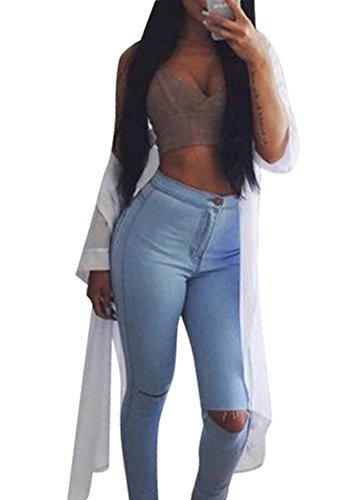 Creabygirls Women's Knee Ripped Hole High Waist Denim Jeans Pants(Large) (Womens Fashion High)