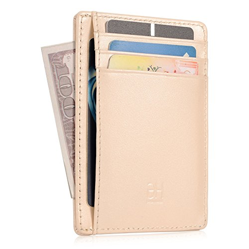 - GH GOLD HORSE Slim RFID Blocking Card Holder Minimalist Leather Front Pocket Wallet for Women Beige