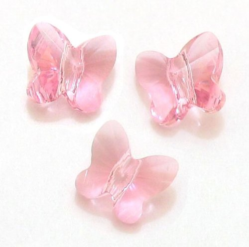 (6 pcs Swarovski Crystal 5754 Butterfly Bead Light Rose Pink 10mm / Findings / Crystallized Element)