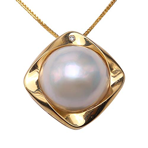 JYX 18K Luxurious 15mm White Mabe Pearl Pendant Necklace