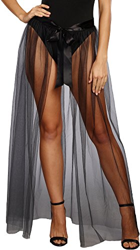 Witch Adult Ballerina Costume (Dreamgirl Women's Sheer Tie Front Skirt, Black, S/M)