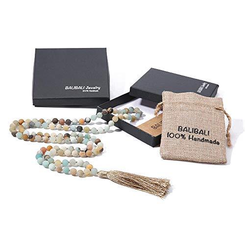 (BALIBALI 8MM Beads Chakra Long Mala Necklace Natural Stone Meditation Statement Necklace Japa Yoga Rosary Prayer Charm Beaded Tassel Necklace (8mm)