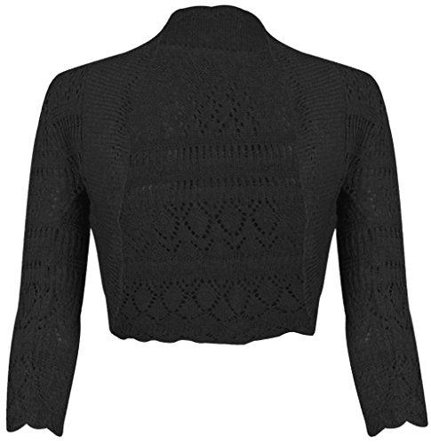 Bolero de punto de manga larga para mujeres, talla 36-46 negro