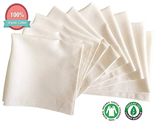 No Dyes, No Printing, 100% Organic Cotton - Global Organic Textile Standard Gauze Muslin Baby Washclothes Towels (Baby Washcloths (Organic Cotton 10 pcs))