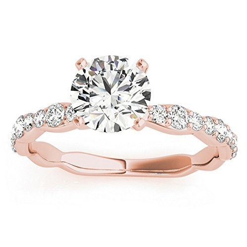 Women's Solitaire Contoured Shank Prong Set Diamond Engagement Ring Setting 18k Rose Gold (0.33ct)