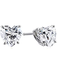 Platinum or Gold-Plated Sterling Silver Swarovski Zirconia Heart Stud Earrings (2 cttw)