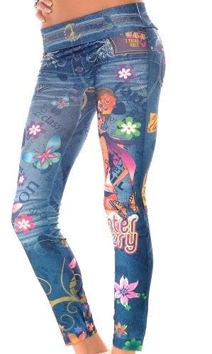Tattoo Leggings Rainbow Style Print Aufdruck Muster Leggins Einheitsgröße 34-42, Farbe:blau